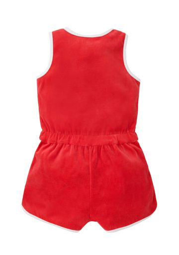 Mothercare | Girls Velour Playsuit - Red