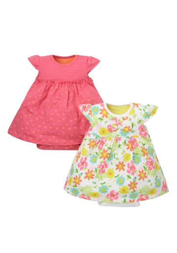 Mothercare | Girls Floral Print Romper Dress - Pack Of 2