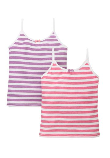 Mothercare | Girls Stripe Cami Vests -Pack Of 2 - White