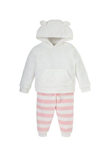 Mothercare | Girls Cuddle Fleece Pyjamas - Pink White