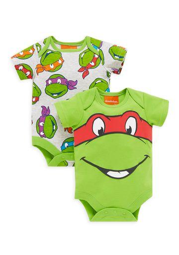 Mothercare | Boys Half Sleeves Teenage Mutant Ninja Turtles Bodysuits - Pack Of 2 - Green
