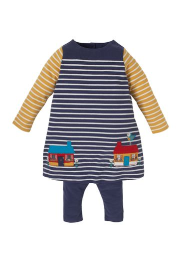 Mothercare | Girls Multi Striped Dress And Leggings - Navy