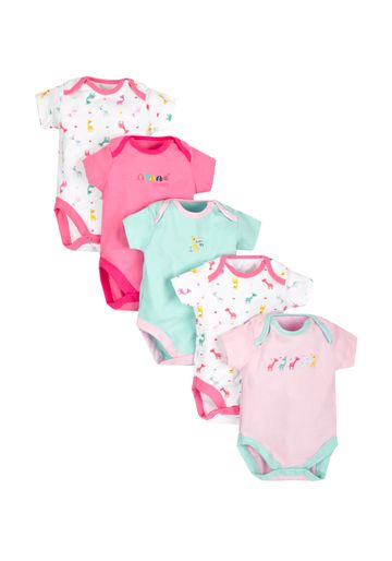 Mothercare | Girls Giraffe Bodysuits - Pack Of 5 - Multicolor