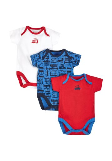 Mothercare | Boys Big Bus Bodysuits - Pack Of 3 - Red