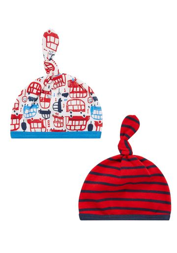 Mothercare | Boys Big Bus Hats - Pack Of 2 - Red