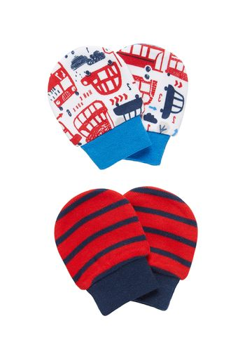 Mothercare | Boys Striped And Bus Print Mittens - Multicolor