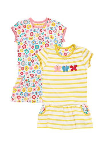 Mothercare | Girls Butterfly Nightdresses - Pack Of 2 - Yellow