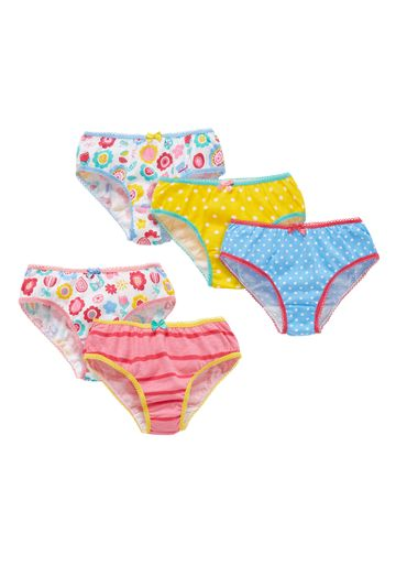 Mothercare | Multicolor Girls Floral, Stripe And Spot Briefs - Pack Of 5