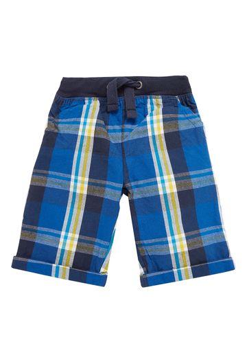 Mothercare   Boys Blue Checked Rib Waist Shorts