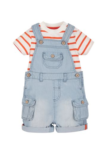 Mothercare | Boys Half Sleeves Striped T-Shirt And Dungaree Set - Blue