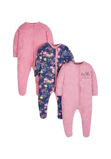 Mothercare | Girls Autumn Floral Sleepsuits - Pack Of 3 - Multicolor