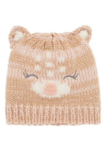 Mothercare | Girls Novelty Deer Beanie Hat - Brown