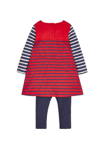 Mothercare   Girls Cat Dress And Leggings Set - Red