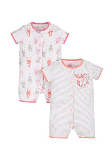 Mothercare | Girls Big Love Bunny Rompers - Pack Of 2