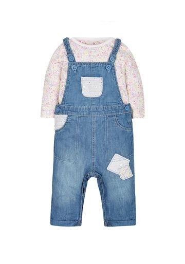 Mothercare | Girls Floral Bodysuit And Denim Dungaree Set