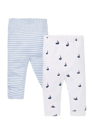 Mothercare | Girls Stripe And Boat Leggings - Pack Of 2 - Blue