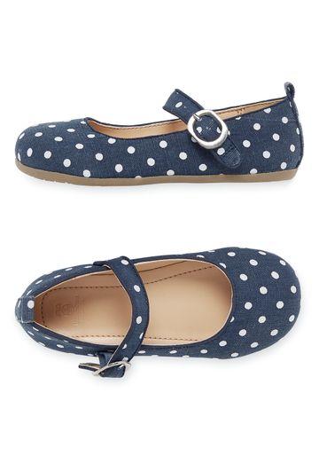 Mothercare | Girls Denim Spot Ballerina Shoes - Blue