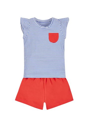 Mothercare | Girls Stripy T-Shirt And Shorts Set - Red