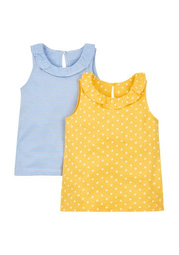 Mothercare | Girls Spotty And Stripy Vests - 2 Pack - Blue