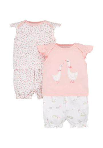 Mothercare | White and Peach Printed Nightsuit - Pack of 2