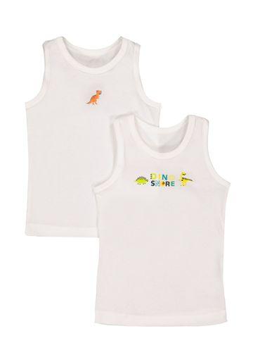 Mothercare | Boys Dinosaur Vests - 2 Pack - White
