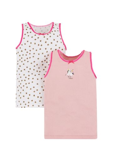 Mothercare | Girls Pink Unicorn Vests - 2 Pack - Multicolor