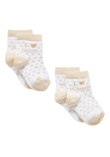Mothercare | Boys Mummy And Daddy Socks - 2 Pack - Beige