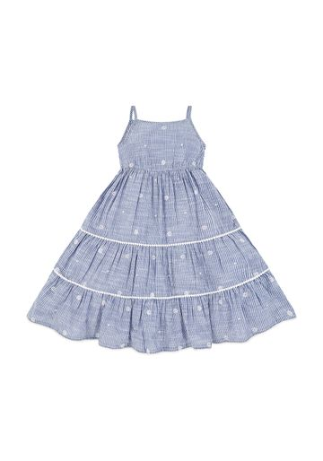 Mothercare | Girls Blue And White Flower Embroidery Stripe Maxi Dress - Blue