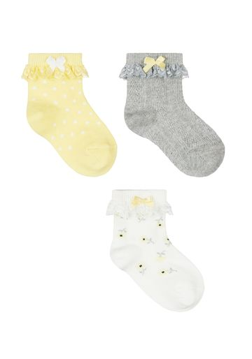 Mothercare | Girls Daisy Lace Baby Socks - 3 Pack - Yellow