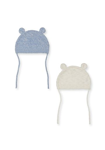 Mothercare | Boys Knitted Hats With Teddy Ears - 2 Pack - Blue