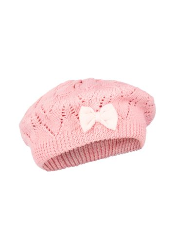 Mothercare | Girls Pink Pointelle Pom Beret - Coral