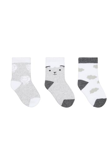 Mothercare | Boys Sheep Socks - 3 Pack - Grey