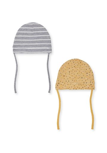 Mothercare | Boys Striped And Printed Hats - 2 Pack - Yellow