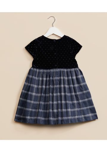 Mothercare | Girls Navy Velour Check Dress - Navy