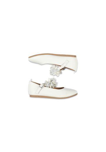 Mothercare | Girls White Flower Ballerina Shoes - White
