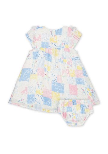 Mothercare | Girls Half Sleeves Dress With Knickers Printed With Frill Details - Multicolor