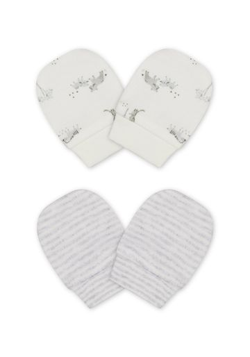 Mothercare | Unisex Mitts Stripe And Animal Print - Pack Of 2 - White Grey