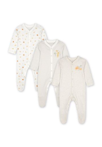 Mothercare | Unisex Sleepsuit Stripes And Animal Print  - Pack Of 3 - Cream