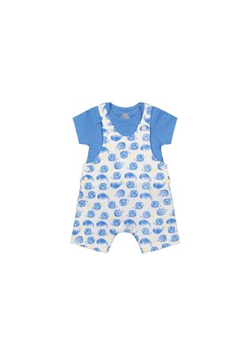 Mothercare | Boys Half Sleeves Dungaree Set Whale Print - Blue White