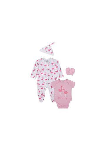 Mothercare | Girls 4 Piece Set Flamingo Print - Pink White