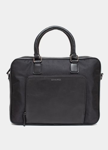 SATYA PAUL | Satya Paul Black Leather Laptop Bag