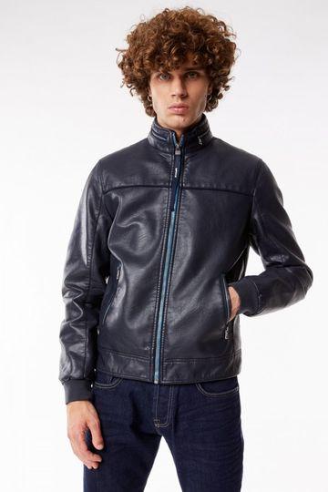 GAS | Navy Blue Men's Mix Eco Solid Jacket