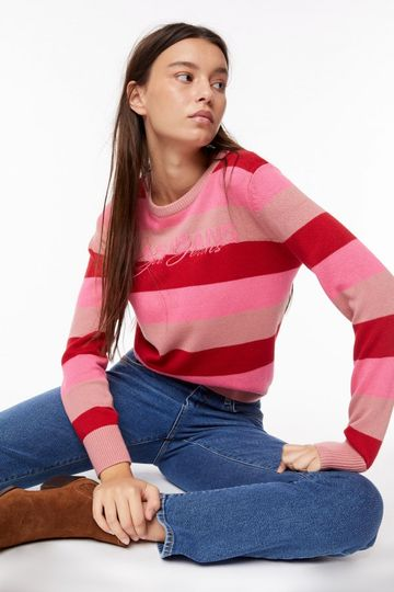 GAS | Deep Red Women's Hedna Stripes Striped Sweater