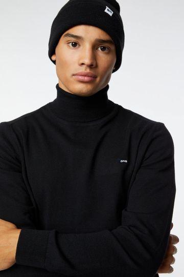 GAS | Black Men's Ayron Collar/S Fr Solid Sweater