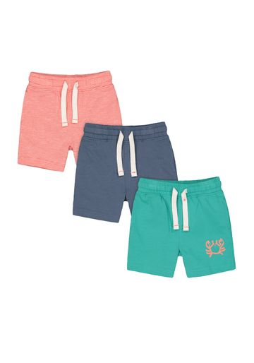 Mothercare | Boys Shorts Stripe And Crab Print - Pack Of 3 - Red Navy Green