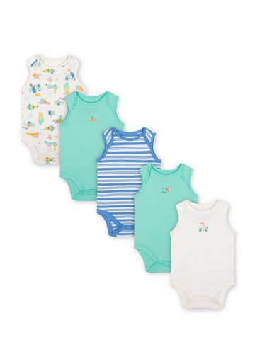 Mothercare | Boys Sleeveless Bodysuit Stripes And Ice Cream Print - Pack Of 5 - Green Blue White