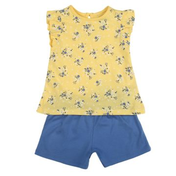 Mothercare | Girls Half sleeves Floral print T-shirt and shorts set - Yellow