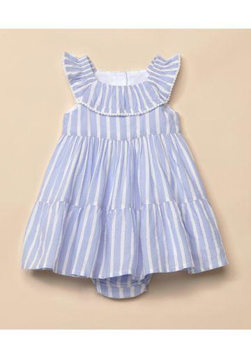 Mothercare | Girls Sleeveless Striped Dress - Blue