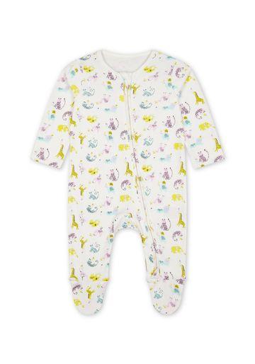 Mothercare | Girls Full Sleeves Animal Print Romper - White