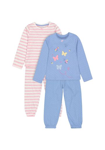 Mothercare | Girls Full sleeves Stripe and butterfly print Pyjamas - Pack of 2 - Multicolor